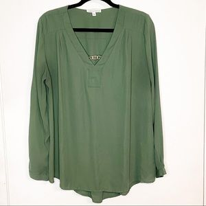 NOTATIONS| Forest Green Long Sleeve Blouse Size L